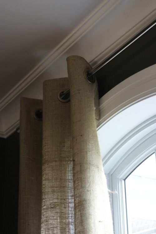 No sew grommet burlap curtains.  I like these better -- will need to buy grommets...