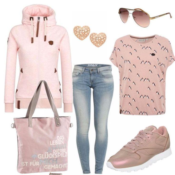 Schöne Farben und alles aufeinander abgestimmt, so muss ein gutes Outfit sein. Wir verwenden in diesem Outfit: ONLY Skinny Jeans ONLCoral, Naketano Female Zipped Jacket 'Every world knows it II', Reebok Classic Sneaker mit schimmernder Optik rosa, Naketano Shirt 'Doofmann Girl IV' pink, ADELHEID Shopper »Glückspilz mit Spruch«, GUESS Sonnenbrille braun / gold, FOSSIL Ohrstecker rosegold.