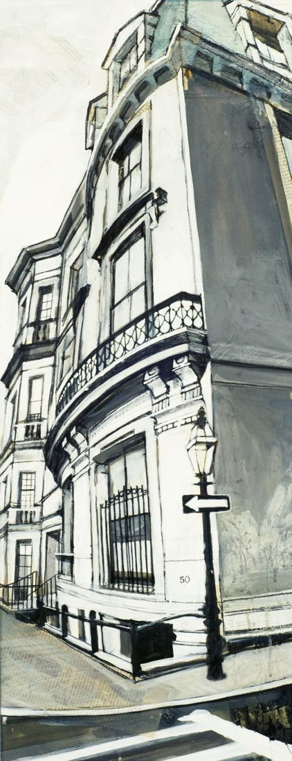 Boston USA America black and white drawing painting art architecture building corner street city © Camilla Dowse