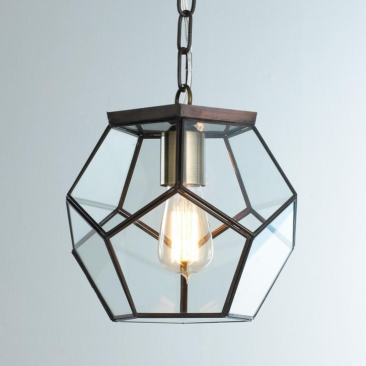 Clear Glass Prism Pentagon Pendant Light Geometric Pentagon Panels Of Clear G
