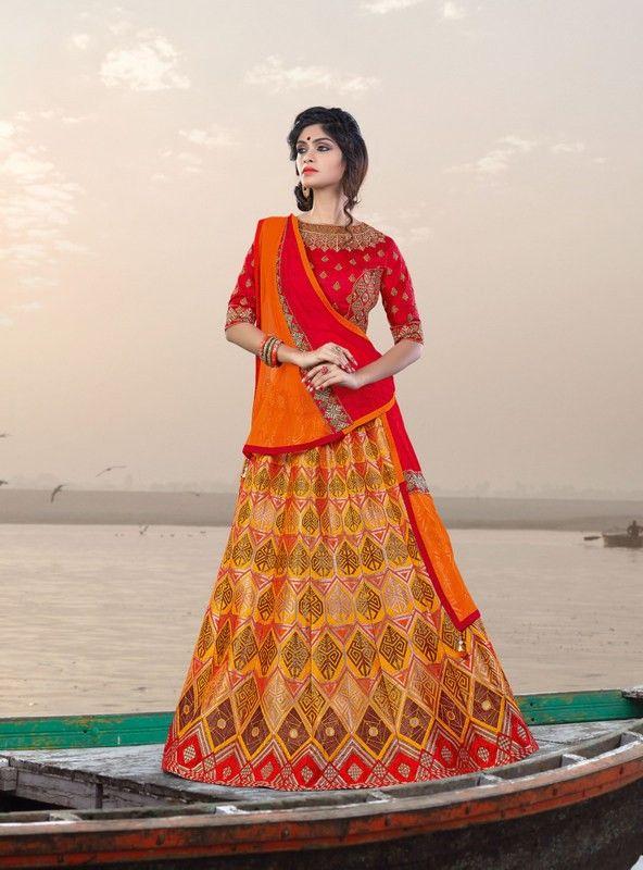 buy saree online Designer Mustard Yellow Colour Jacquard and Silk Party Wear Lehenga Choli Buy Saree online - Buy Sarees online