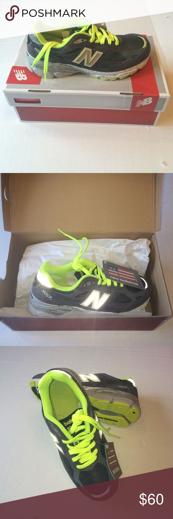 New Balance Running Shoes Brand new in box New Balance Running shoes! Great for running, jogging, cross training, or just working out! Grey with fluorescent green trim. New Balance Shoes Athletic Shoes