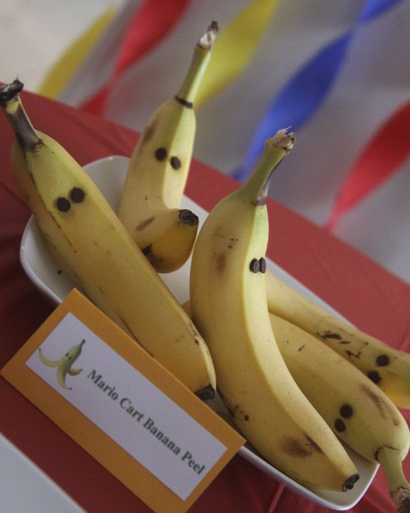 banana peels (mini chocolate chip eyes)