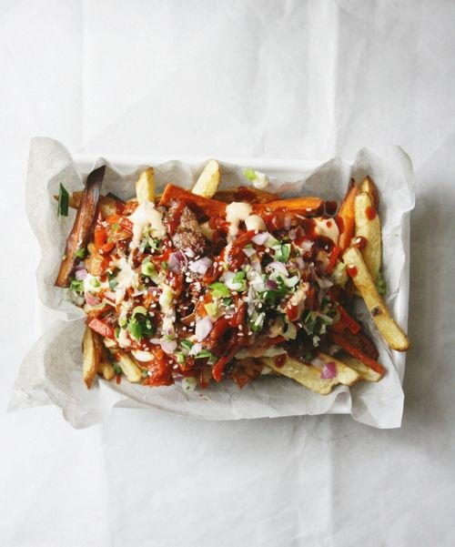 Kimchi Fries - I don't know if I would make these but I would love to eat them!