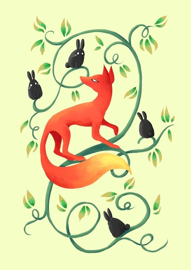 Bunnies and a Fox - A gallery-quality illustration art print by Indré Bankauskaité for sale.