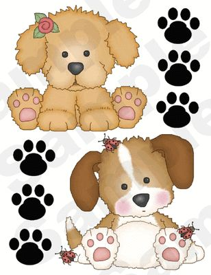 PUPPY DOG PAW PRINTS BONES LADYBUG FLOWERS BABY NURSERY WALL ART STICKERS DECALS…