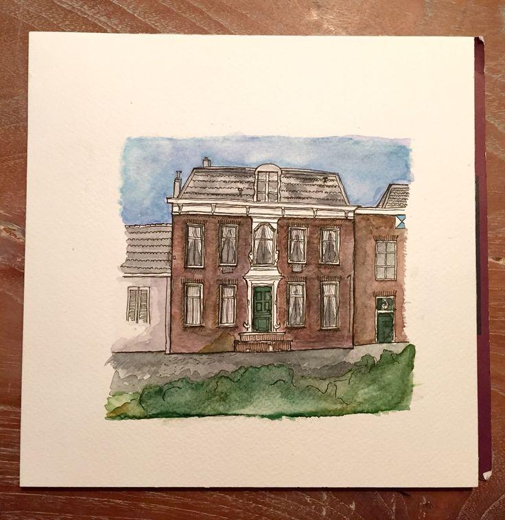 Rijksmonument, Kralingen, Rotterdam. Watercolor and fineliner.