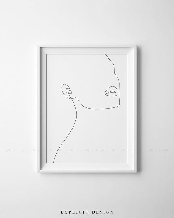 One line Print. Minimal art. Face fine line drawing. – Infinite Noon