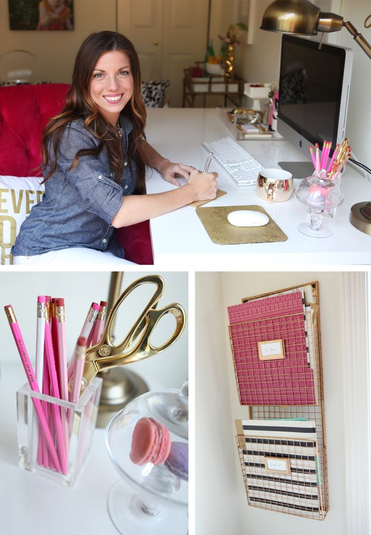 Leah Remillet's Home Office. Gold Spray paint on the Wire Magazine Rack and Glitter Mouse Pad (Both DIY)
