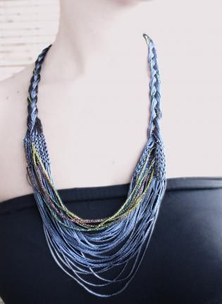 Braided Knitted Necklace,  Jewelry, unique jewelry  knitted jewelry  hand-made, Bohemian (Boho) / Hippie