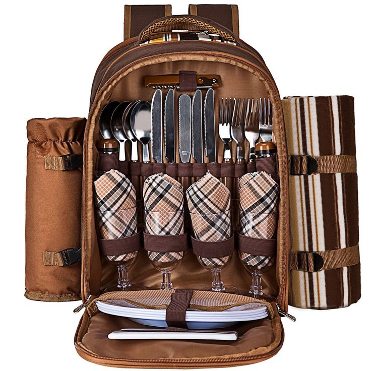 Picnic Basket Set Insulated Gourmet Backpack Set Adjustable Brown
