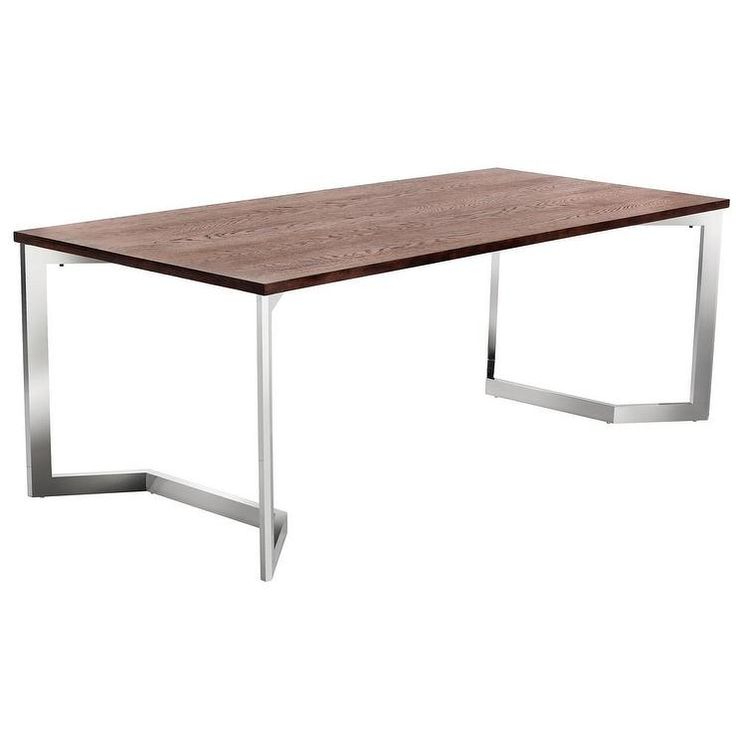 Sunpan Revolver Walnut Top And Stainless Steel Dining Table | Overstock.com  Shopping   The
