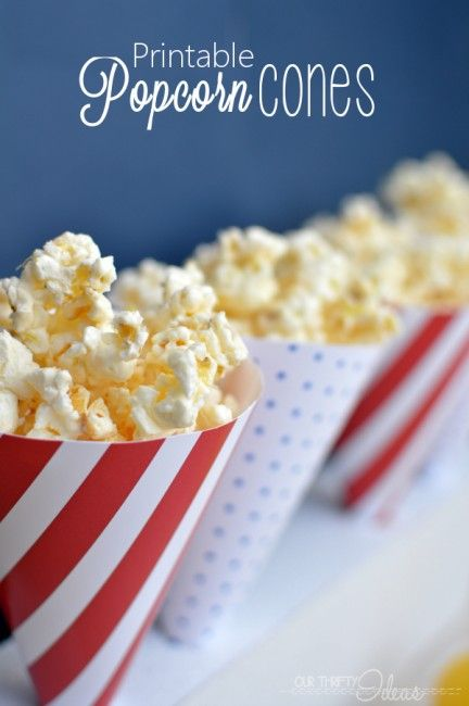 Printable 4th of July cones. Perfect for the white chocolate popcorn in the pic or any other #redwhiteandblue treat! #4thofjuly