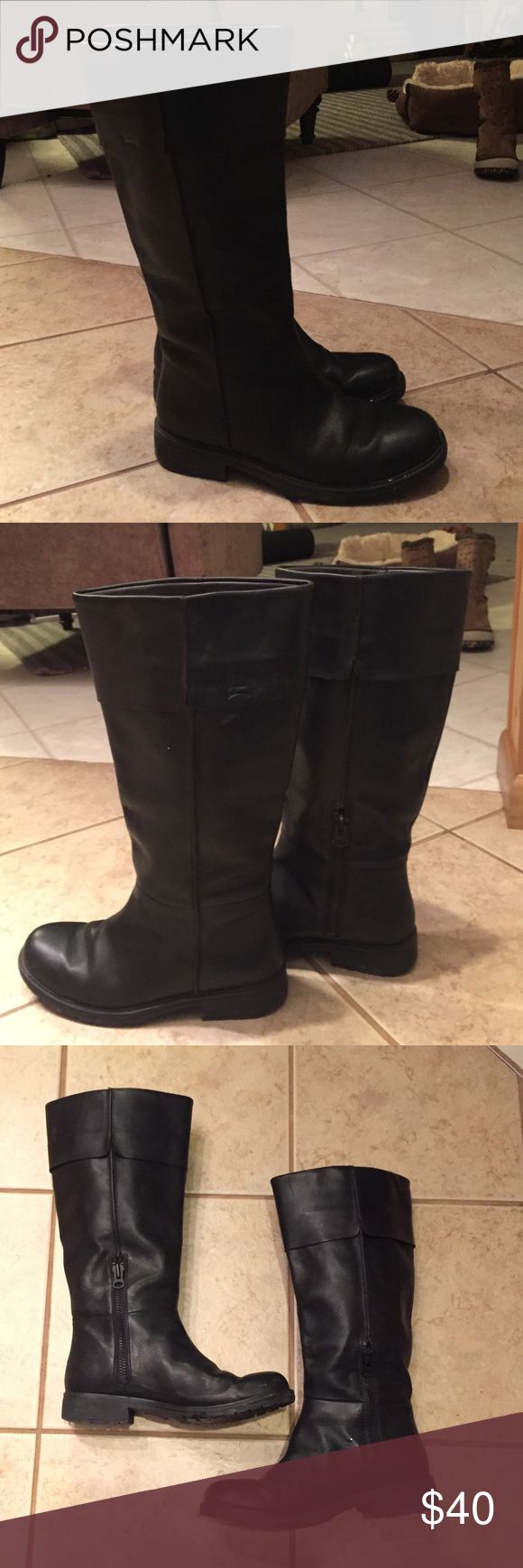Black leather Camper boots Tall riding boot style with inside zipper, worn twice. Camper size 39 so closer to a US 8. Fits a wider calf. Camper Shoes Heeled Boots