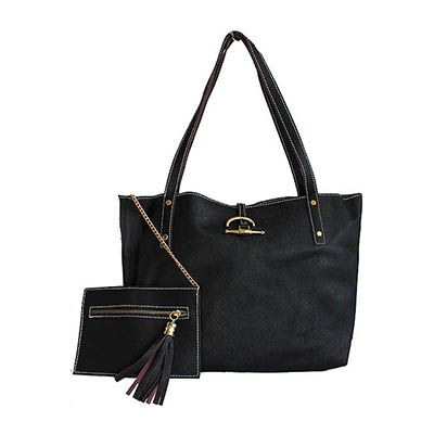 Black Leather Shopper Bag With Detachable Clutch Bag/Document Holder - Down to £54.99 from £89.99