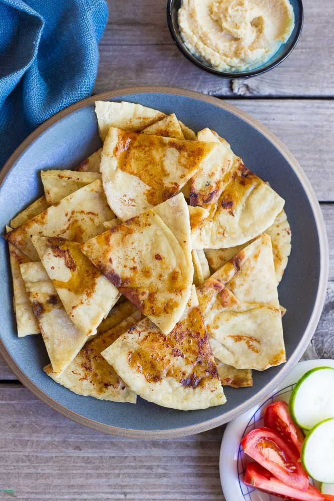 This Pan Fried Pita Bread is so delicious you will never eat plain pita bread again!  Perfect for dipping in hummus!