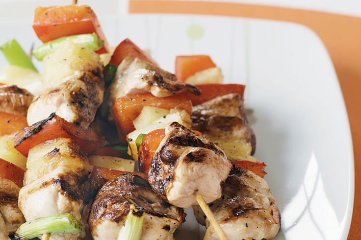 Get the grill ready for these colourful skewers with chicken, capsicum and pineapple.