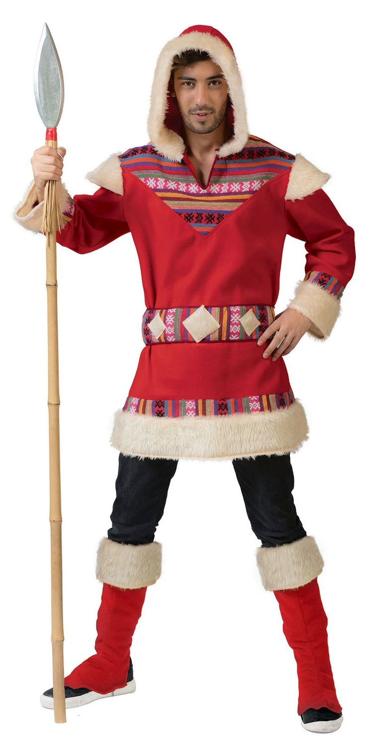 Beautiful men's costume as Inuit in red with ethnic pattern, as well as matching gauntlets
