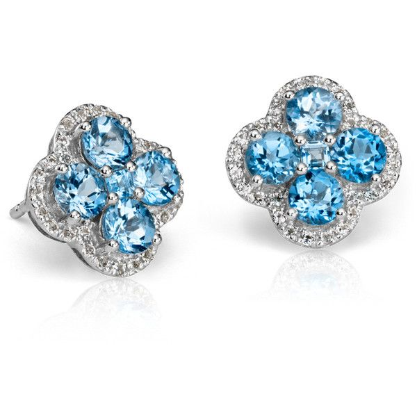 Blue Nile Blue Topaz Halo Clover Earrings (21025 DZD) ❤ liked on Polyvore featuring jewelry, earrings, blue topaz, blue nile, blue earrings, blue jewelry, white jewelry and clover earrings