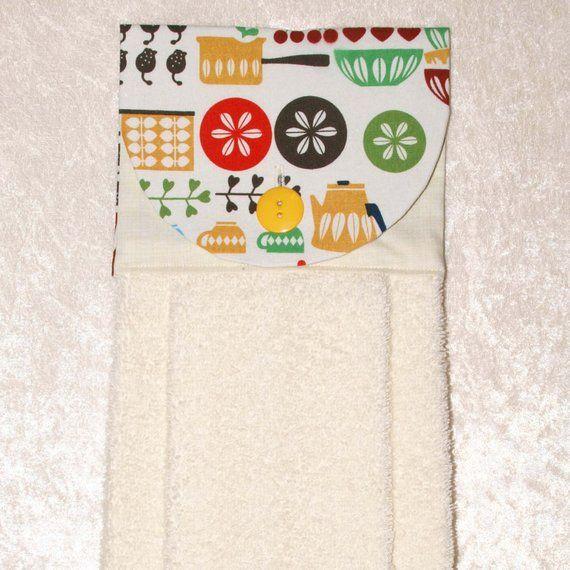 Hanging Hand Towel Lotus Pattern Towel Vintage Dishes Pattern