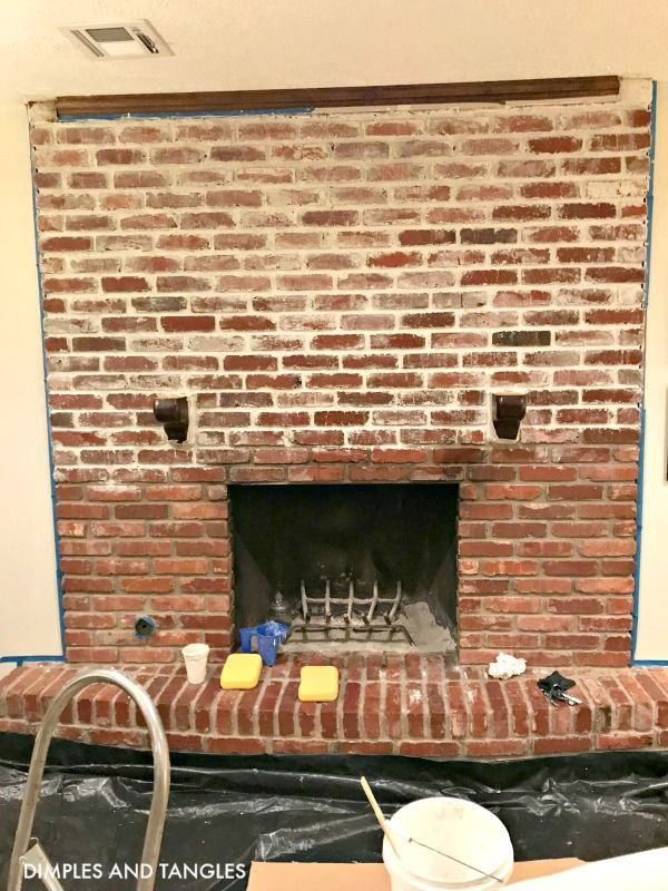 Mortar Wash Brick Fireplace Makeover Dimples And Tangles Brick