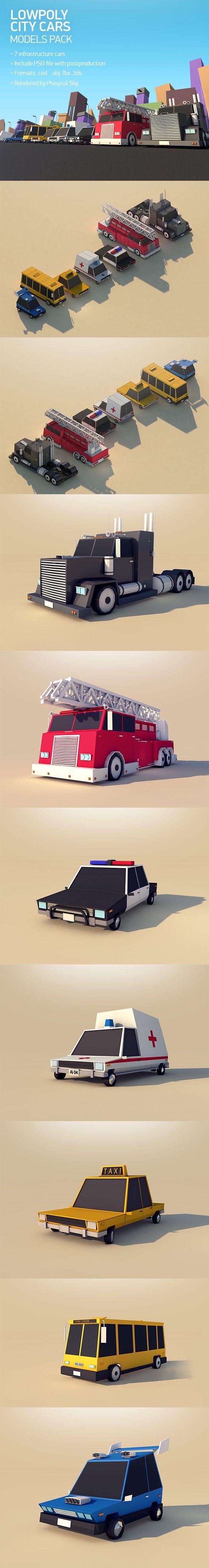 Low Poly City Cars Pack 1 3D Models Design Template .3ds .c4d .obj .fbx #cinema4d #3D #3dDesign Download here: https://3docean.net/item/low-poly-city-cars-pack-1/11993451?ref=yinkira
