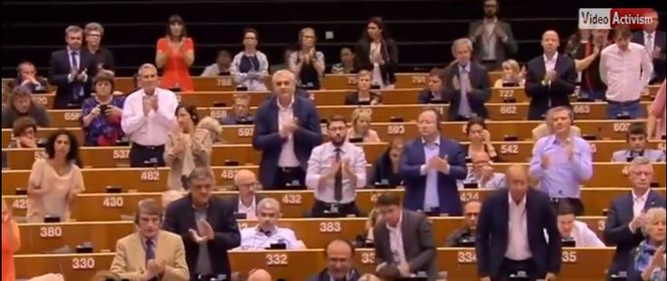 October 31, 2016 |  WATCH: EU parliament applauds PA anti-Semitism |  Abbas got a standing ovation in Brussels when he addressed the European Union parliament, repeating an anti-Semitic blood libel. - https://worldisraelnews.com/watch-eu-parliament-applauds-pa-anti-semitism/