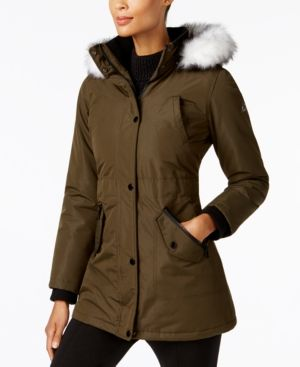 Halifax Faux-Fur-Trim Water-Resistant Coat, A Macy's Exclusive - Green XXL