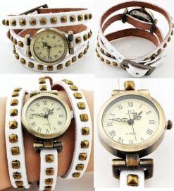leren horloge wit