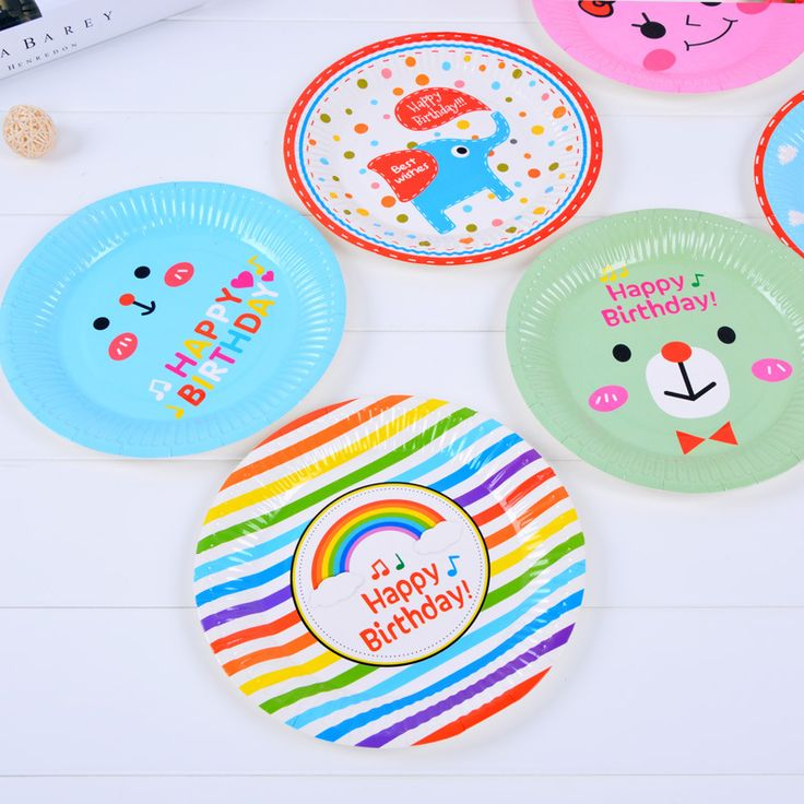 Cheap plate for birthdays, Buy Quality plates for party directly from China plates for food Suppliers: 6pcs/lot Cartoon Elephant Bear Car Colorful Rainbow Round Paper Plate For Birthday party Food Containter out trip BBQ supplies