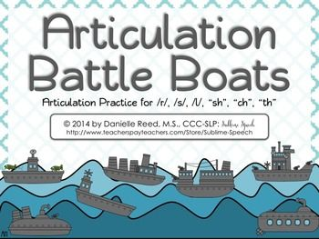 Articulation sessions will be exploding with fun when you use this classic battle boats game infused with articulation practice.  Students play by the classic Battleship rules to give coordinates but use speech words instead