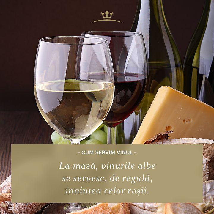 Dacă servești atât vin roșu cât și vin alb, la o masă, e bine să ții cont de ordinea dezirabilă a servirii: vinuri albe înaintea celor roșii.