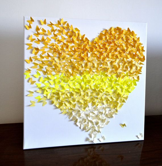 3D Yellow Ombre Butterfly Art  - Original Collage/ Living Room Art / Modern Nursery Decor / Girl's  Room Art / Wedding Gift / Romantic Art