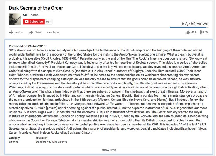 Dark Secrets of the Order: Youtube video patching together government leaders speaking out about The New Order in the recent past.