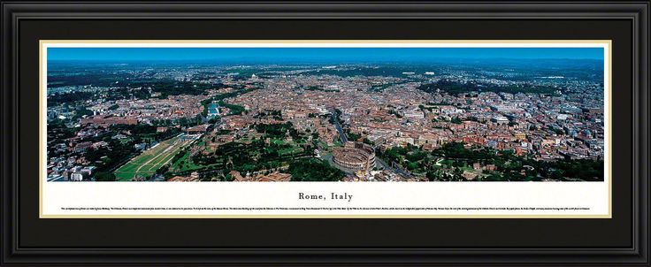 Rome Skyline Panoramic Picture Framed, Italy-Series 2