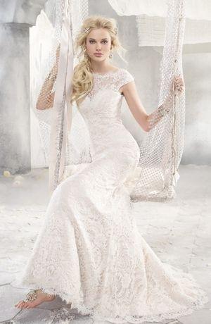 Alvina Valenta - Bateau Sheath Gown in Duchess Satin