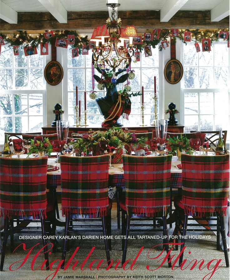 Southern blue celebrations plaid christmas for Christmas decorating ideas for dining room chairs