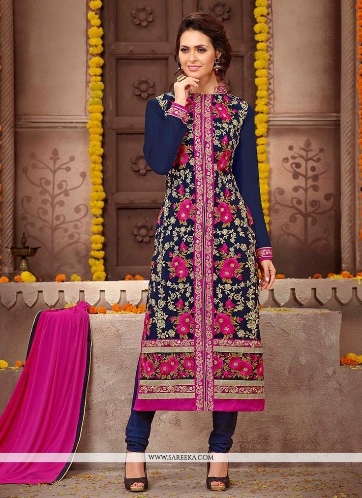 Make the heads flip the moment you dress up in this sort of a attractive navy blue faux georgette churidar designer suit. This attire is nicely designed with embroidered and resham work. Comes with ma...