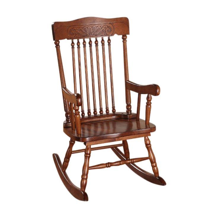 Benzara Sober Wood Rocking Chair