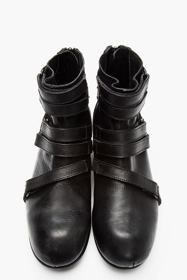 JULIUS Black leather strap high-top boots