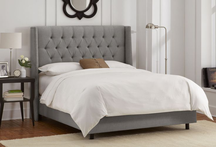 Want. Alexander Wingback Tufted Bed, Gray