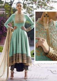 Bridal Wear Jute Silk Green Antique Work Straight Suit