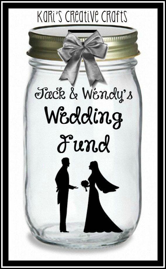 Wedding Fund or Honeymoon Bank, Honeymoon Jar, Wedding Savings Bank, Coin Slot Lid, Vacation Fund, Bridal Shower Gift, Savings Bank by KarisCreativeCrafts on Etsy