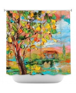 Unique Shower Curtains | Karen Tarlton - Autumn Sunset | Nature Trees | Green Yellow Blue