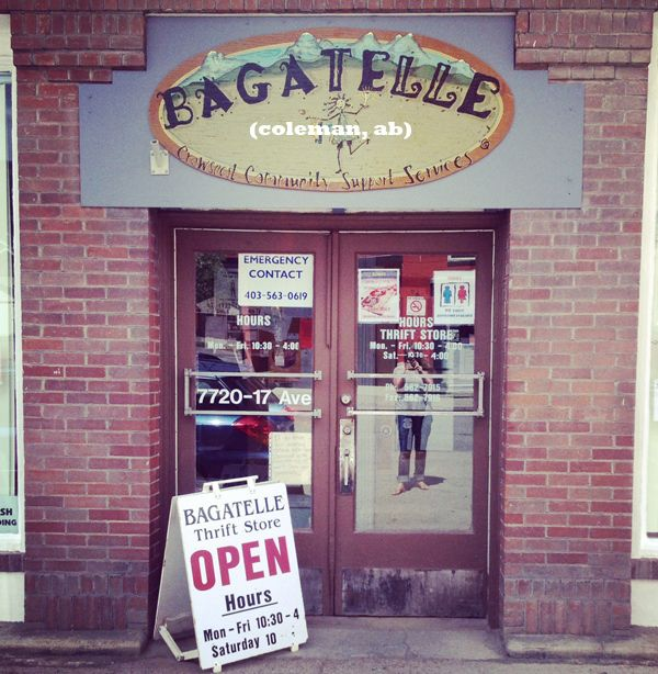 Bagatelle Thrift Store in Coleman, Alberta - dedicated to supporting and employing locals with disabilities.