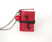 Steampunk leather necklace journal miniature book with blank pages gunmetal chain - gift for her - red poppy blood: Leather Necklace