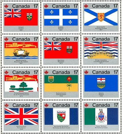 Canada's Provincial and Territorial Flag Stamps. Produced to celebrate Canada Day, July 1, 1979, this colourful sheet of stamp depicts the flags of the (then) 12 Provinces and Territories. Since then, Newfoundland and Labrador, here represented by the Union Jack (lower left), has its own new flag, and in 1999 the new territory of Nunavut was created.