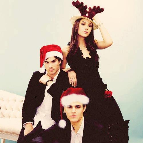 Nina Dobrev, Ian Somerhalder, and Paul Wesley in Christmas.