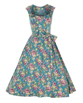 Lindy Bop 50's Grace Vintage Floral Dress Turquoise Blue