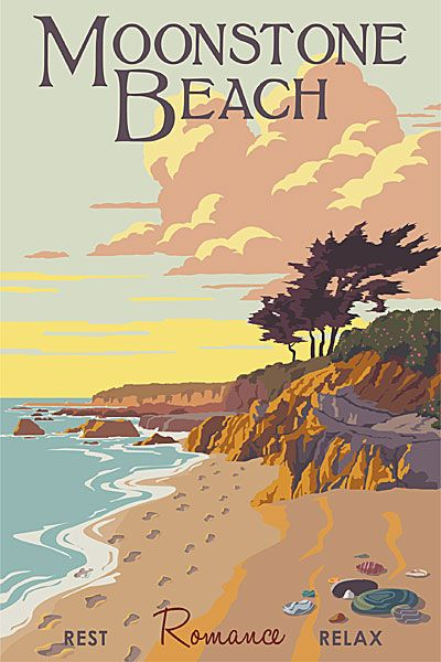 Moonstone Beach at Cambria, California. Posters by Steve Thomas.